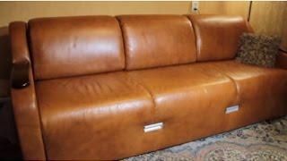 Кожаный диван и поролон с памятью,через год.(Диван для дома,обивка кожа теленка,наполнитель поролон с памятью,выкладка тик-так,габариты в длину 2,20 м,шир..., 2015-10-28T23:53:57.000Z)