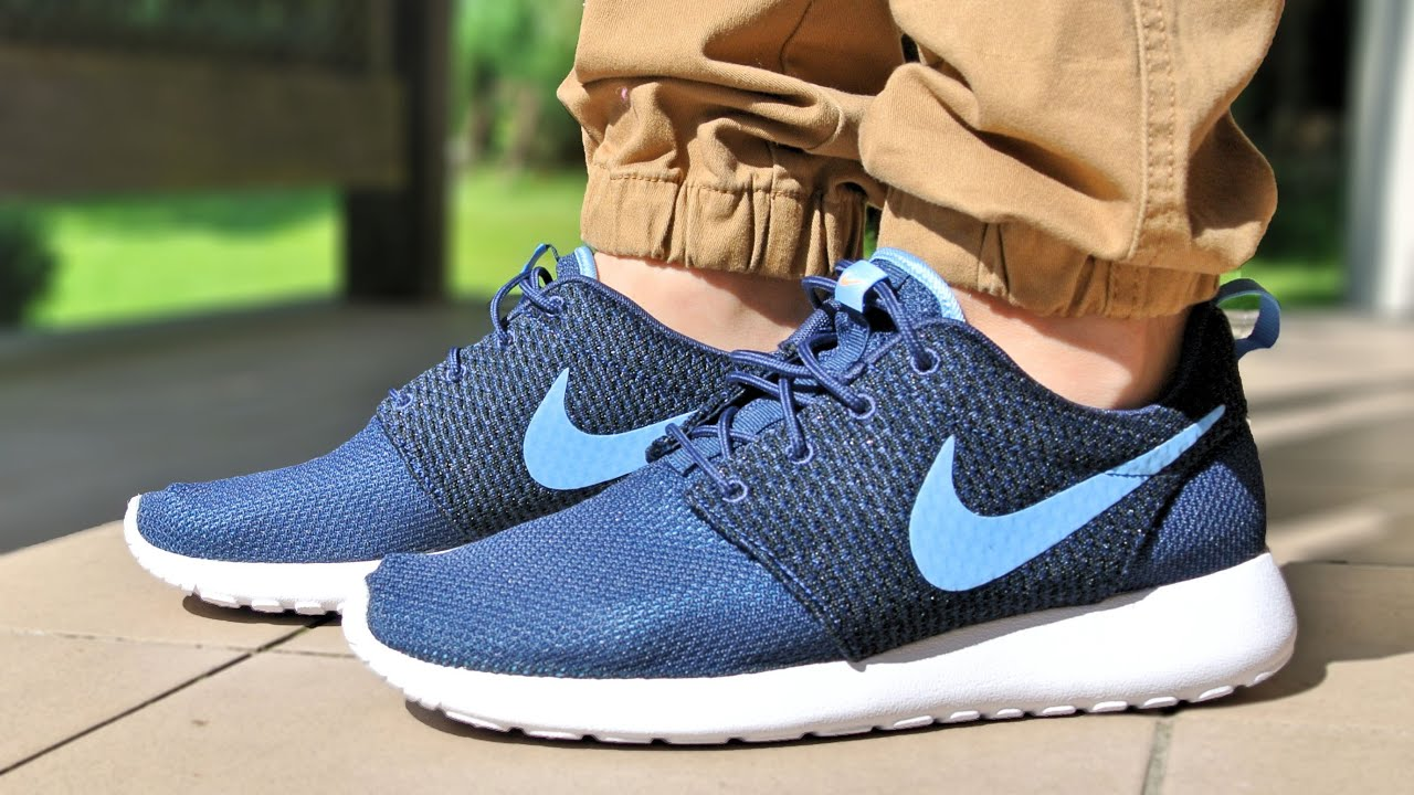 nike roshe run gs navy university blue
