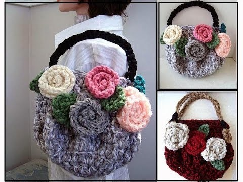 crochet-purse,-chunky-style-bag-or-purse-with-flowers,-crochet-pattern,-how-to-diy,-video-tutorial