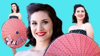 Pin Up Girl Bettie Page Parasol Review - Retro-A-Go-Go - Aubrey London Makeup Hair