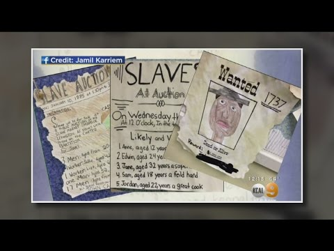 Parents Outraged By Assignment To Create Slave Auction Poster