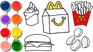 How to Draw & Color a McDonalds Happy Meal Set | Hamburger, French Fries, Sunday Ice Cream, Nuggets