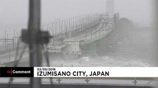 شاهد: إعصار جيبي يضرب اليابان ويدمر جسرا عملاقا