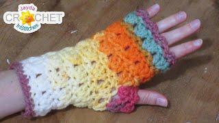 Autumn Primrose Fingerless Gloves Crochet Pattern & Tutorial for Adults & Children
