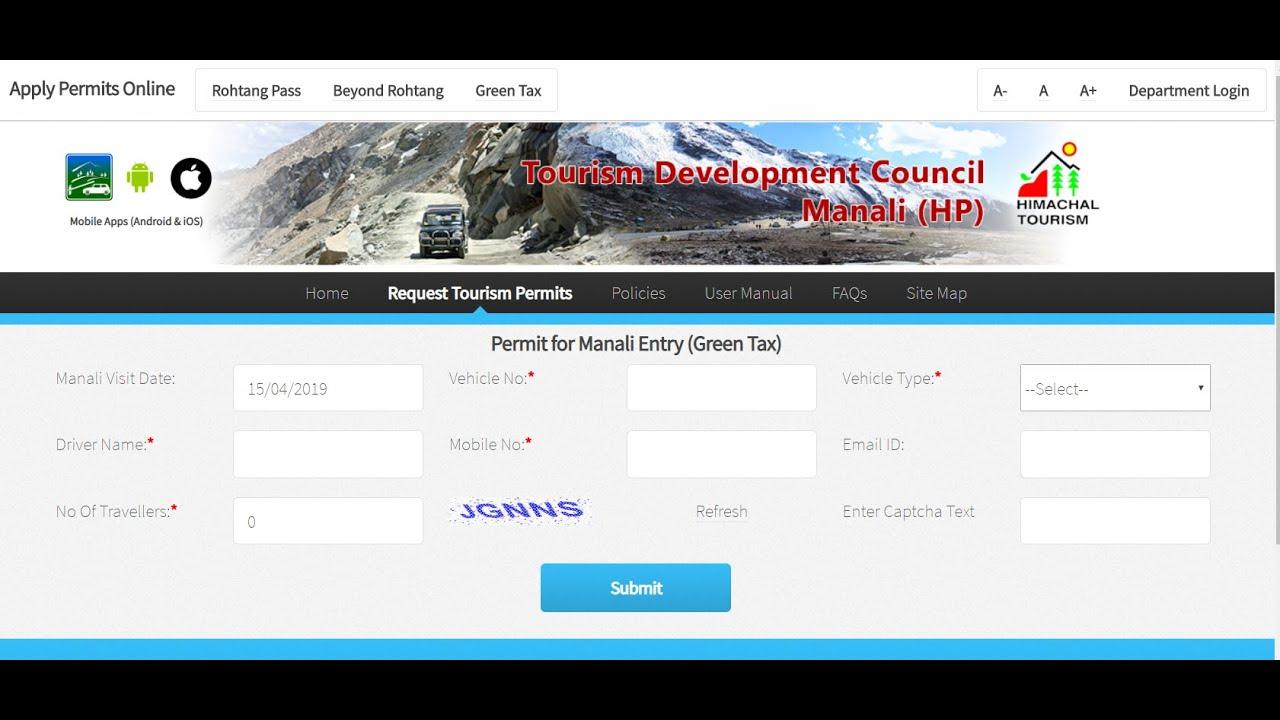 Captcha filling - Auto fill captcha with Chrome extension for Rohtang pass  (Manali permits)