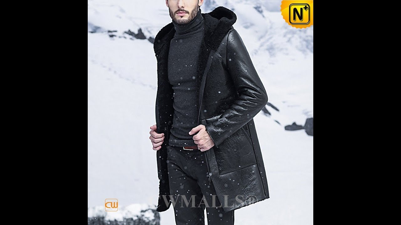 Men's Black Shearling Coat with Hood CW838005 | jackets.cwmalls ...