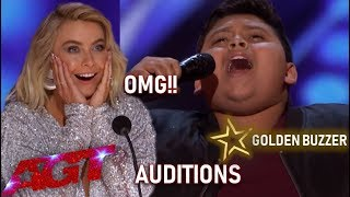 luke Islam: 12 Year Old With AMAZING Voice SHOCKS & Gets Golden Buzzer!| America's Got Talent 2019