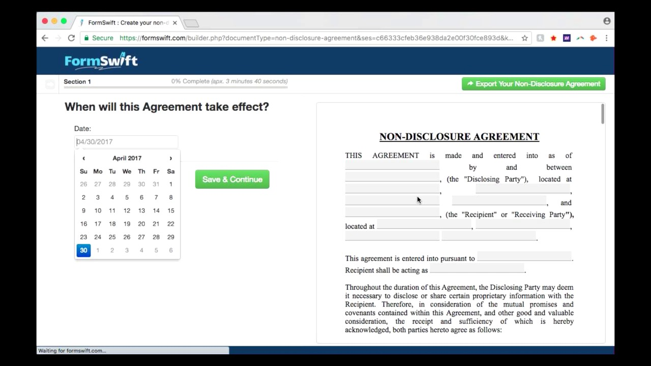 Non Disclosure Agreement Create Your Nda Online With Formswift