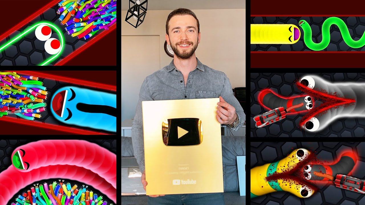 Slither.io Professional Player! // UNBOXING GOLD PLAY BUTTON