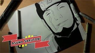 Dibujando/Drawing: Asuma Sarutobi (Naruto Shippuden) // Denki Otaku