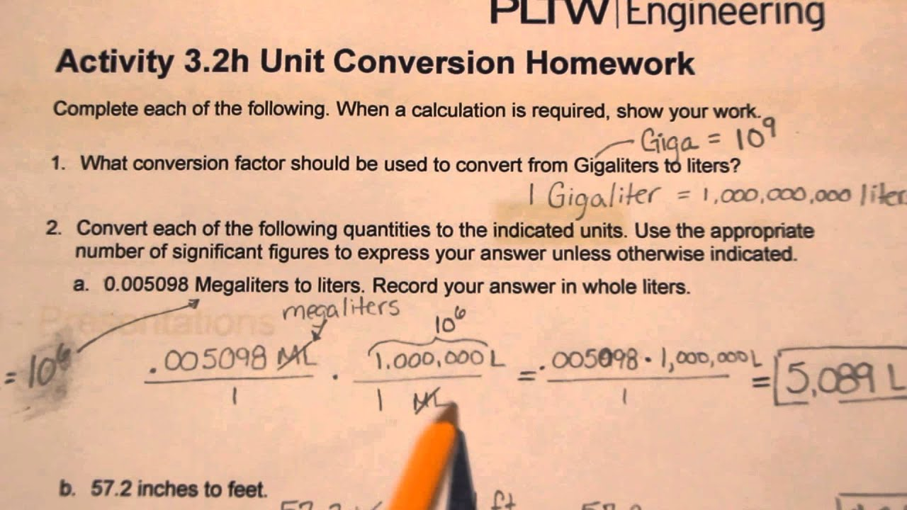 pltw 3.2h unit conversion homework answers