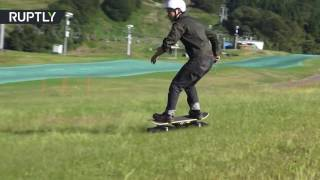 Skateboarding tractor  All terrain skate crawler hits Tokyo streets & parks