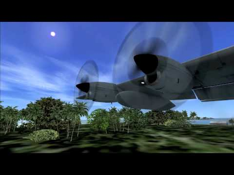 FSX C130 Captain Sim and NGME Nanumea Island landing in the South Pacific