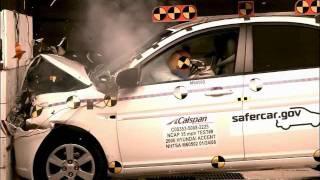 Crash Test 2005 2011 Hyundai Accent Verna Avega Brio Dodge Attitude Frontal Impact NHTSA