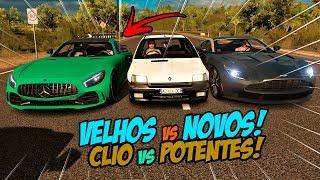 VELHOS VS NOVOS - RENAULT CLIO VS AMG GTR VS ASTON MARTIN DB11 - FORZA HORIZON 3