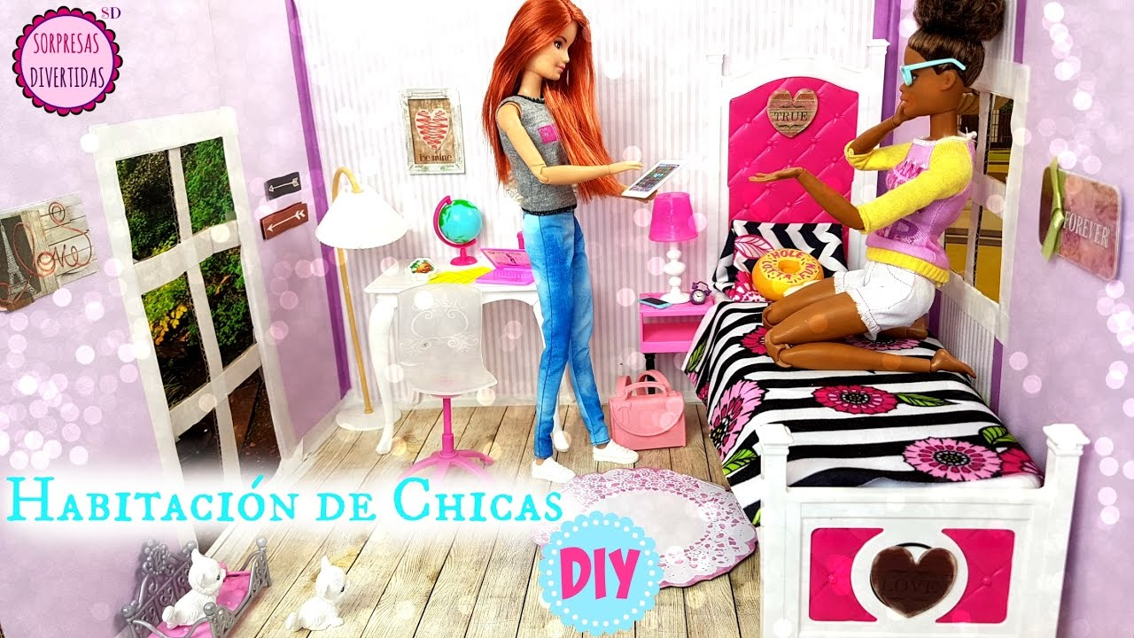 Manualidad Habitación De Chicas Para Casas De Muñecas Barbie