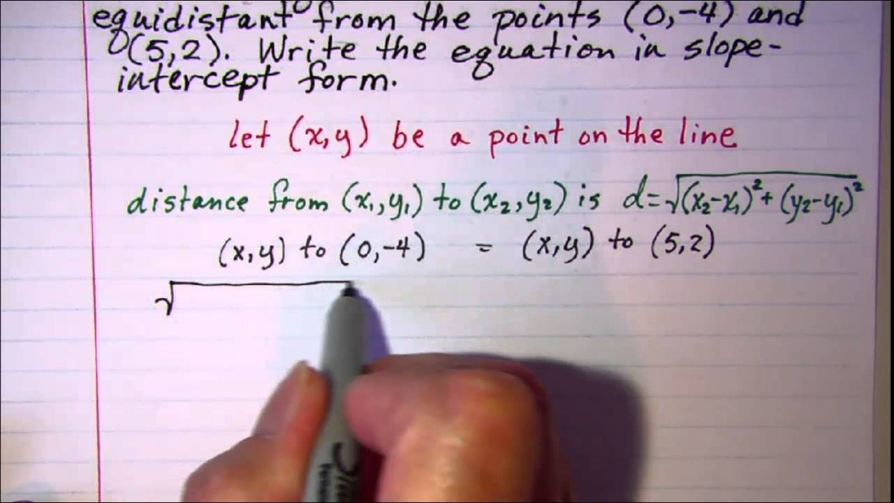 Equation of a line equidistant from 2 points