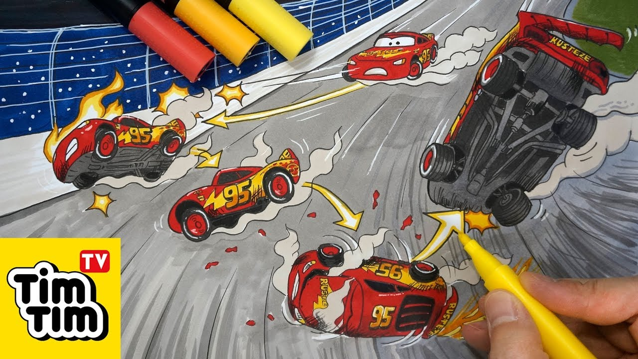 How to draw LIGHTNING McQUEEN lost control before the crash from ...