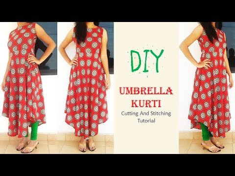 6fd7b826d9 DIY High Low Umbrella Kurti Cutting And Stitching Full Tutorial ...