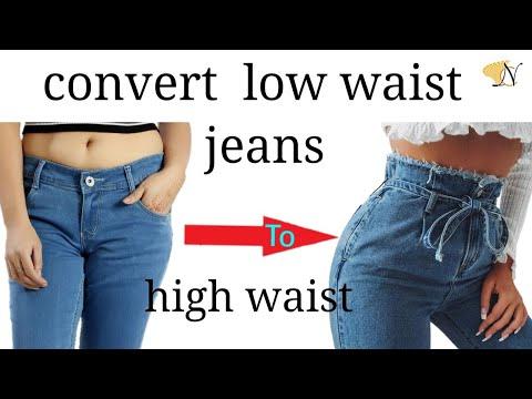 Thrift flip convert low waist/rise jeans to ripped high waist/rise Diy denim/reuse recycle transform