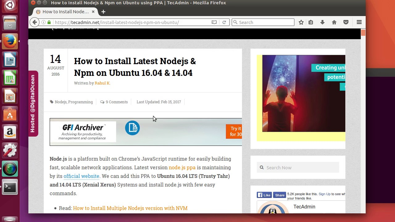 Install Nodejs On Ubuntu 1610 Part 1