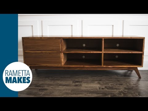 Mid-Century Modern TV Cabinet // DIY Woodworking