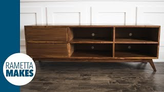 Mid-Century Modern TV Cabinet // DIY Woodworking