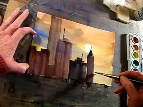 Paint an easy cityscape