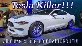 Tesla Killer! 1,000 LB-FT of Torque All-Electric Mustang — Webasto Ford Mustang Rocks SEMA Show