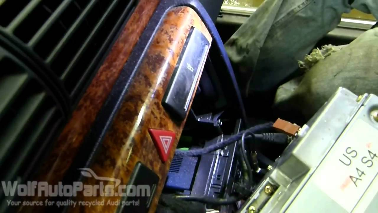 how to remove radio stereo audi a4 b5 1996 2001 wolf auto parts youtube [ 1280 x 720 Pixel ]