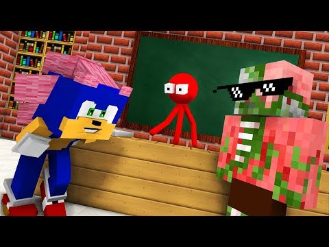 Monster School : AVM SHORTS - STICKMAN & SONIC THE HEDGEHOG CHALLENGE - Minecraft Animation