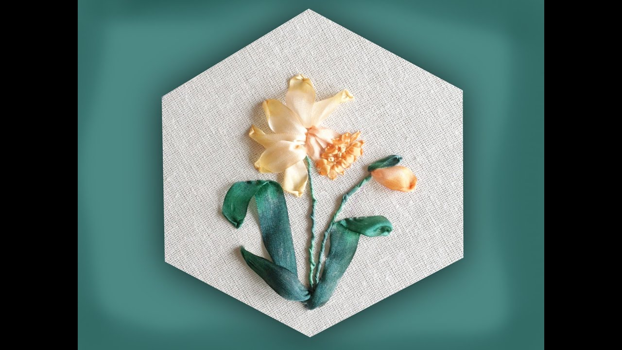 How to embroider a silk ribbon daffodil group youtube how to embroider a silk ribbon daffodil group ccuart Gallery