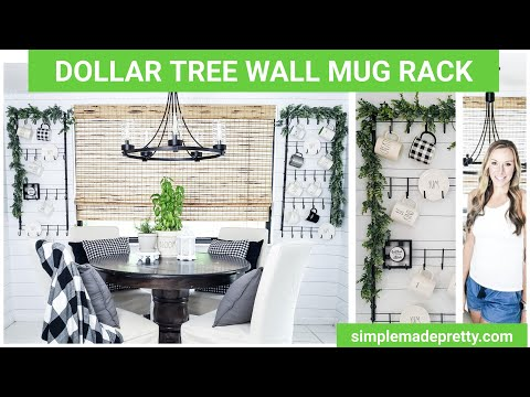 DOLLAR TREE DIY Farmhouse Mug Rack, Rae Dunn mugs, Mug Display, Wall Mug Rack