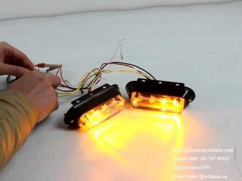 TBF-4691B 3W Amber LED Warning Strobe Lights - YouTube