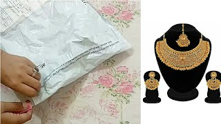 Unboxing Bridal Gold Plated stones necklace set with mang tika @ very cheap cost