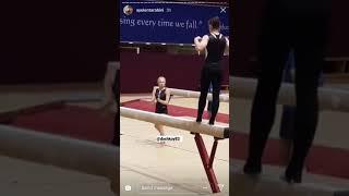 Aliya Mustafina and Daria Spiridonova on beam   Gymnastics World Championship 2018
