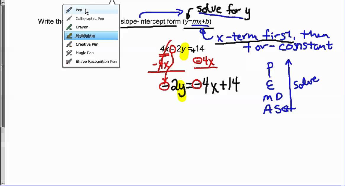 Write the equation 4x-2y=14 in Slope Intercept Form - YouTube