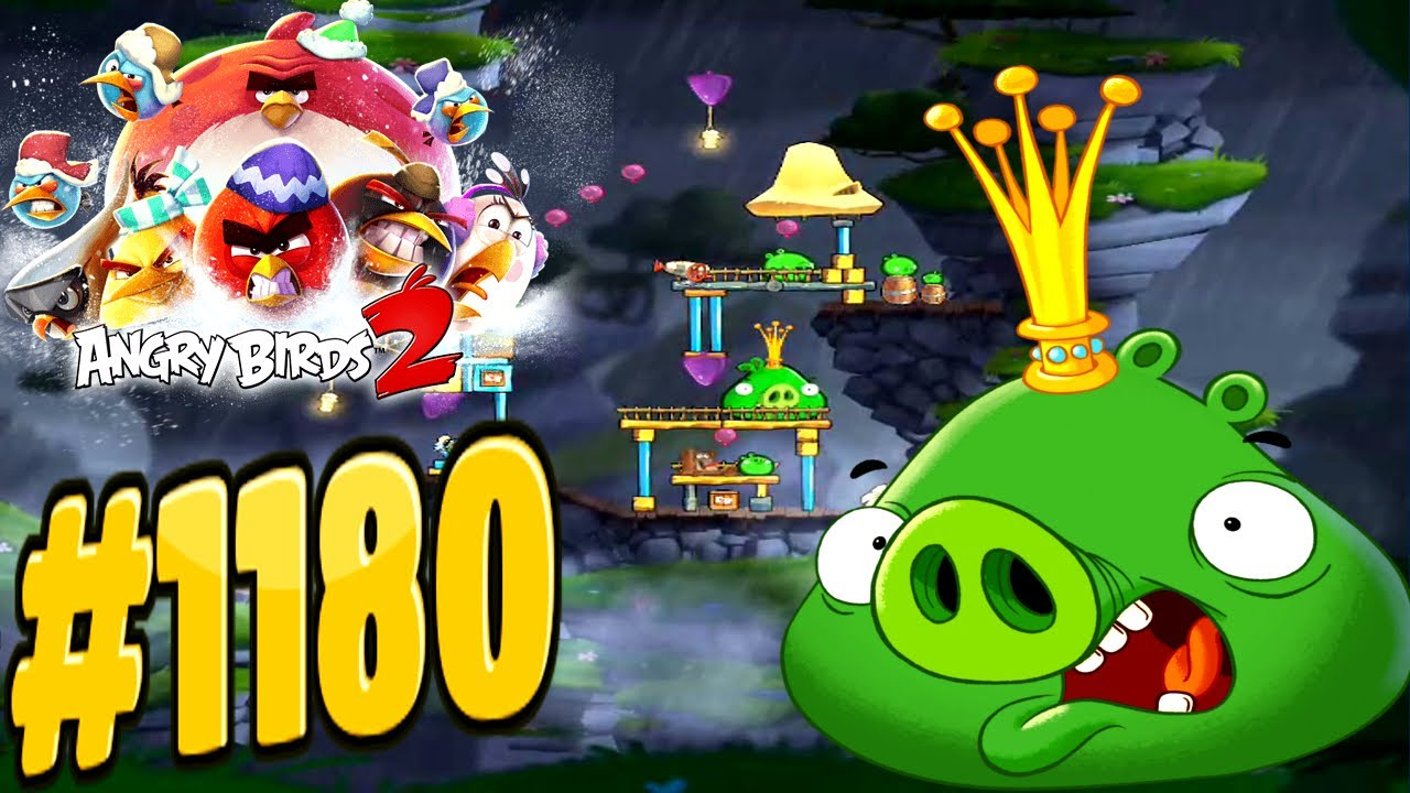 Angry birds 2 cobalt plateaus twin beaks king pig level - Angry birds trio ...