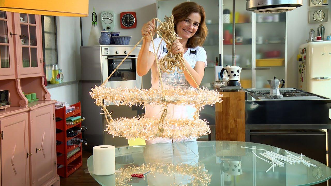 Riciclo creativo  lampadario fai da te con hula hoop e luci di Natale   YouTube -> Lampadario Ombrello Fai Da Te