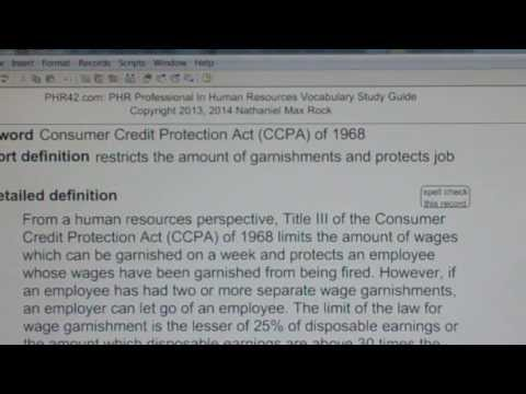 Consumer Credit Protection Act (CCPA) of 1968 PHR SPHR Human Resources License Exam VocabUBee.com