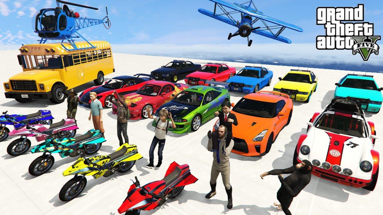 GTA V Super Kids Team Hard Race After School With Trevor By Jet Bikes, Police Cars, Jet Skies