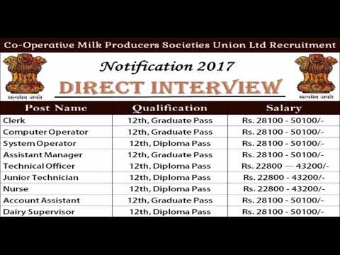 Co-Operative Milk Producers Societies Union Ltd Recruitment 2017  | Gvt job