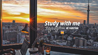 2-HOUR STUDY WITH ME🌅 / relaxing jazz🎷 + fireplace / Tokyo-Skytree at SUNRISE / with countdown+alarm