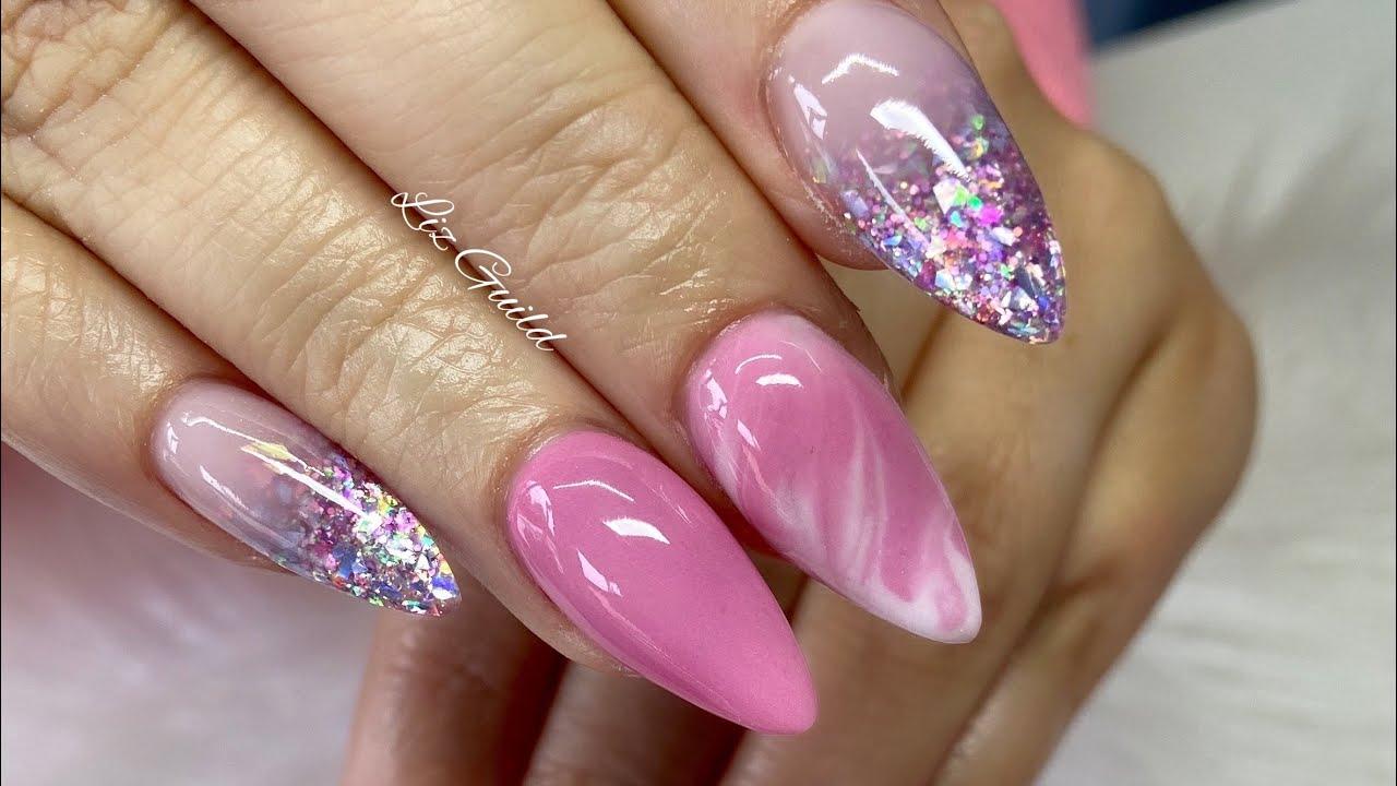 Acrylic Nails ~ Full Set ~ Pink Nail Design