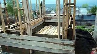 Хозблок из опилкобетона 7/ Обзор стройки, перестановка опалубки/ Маришка