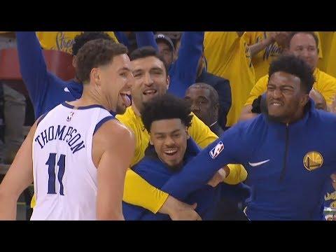Klay Thompson Dazzles Davis! Green Triple Double Game 1! 2018 NBA Playoffs