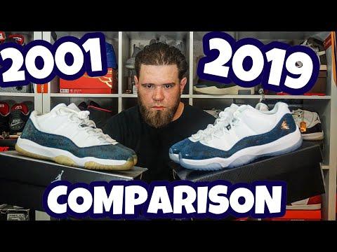 COMPARISON 2001 & 2019 AIR JORDAN 11 LOW SNAKESKIN  (OG & RETRO)