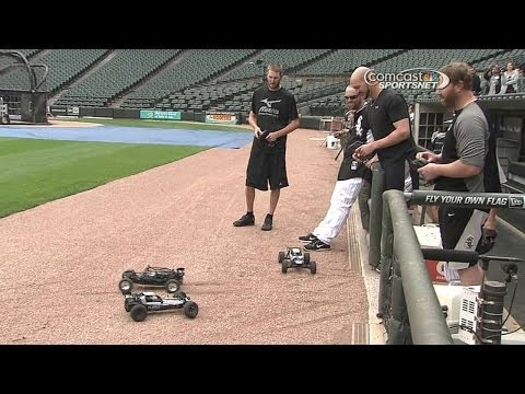 White Sox players race remote control cars