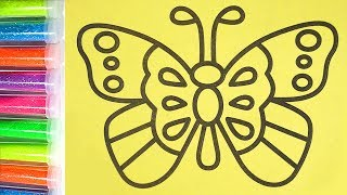 Бабочка рисование песком |Как Рисовать блёстками | Познавайка ТВ 💖