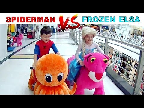 HOMEM-ARANHA vs FROZEN ELSA NA CORRIDA DE BICHINHOS ★ Muita Diversão no Shopping (FT. CANAL DO DUDU)